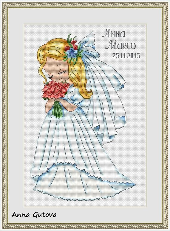 A Bride Counted Cross Stitch Pattern with a cute blond girl