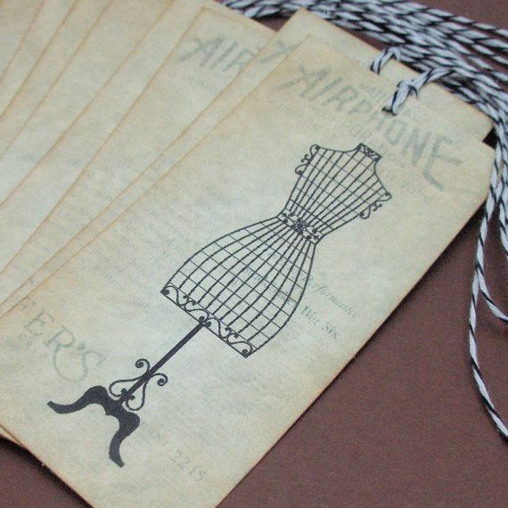Vintage French style Dress Form tags  set of by JustScrapsNThings, $6.25