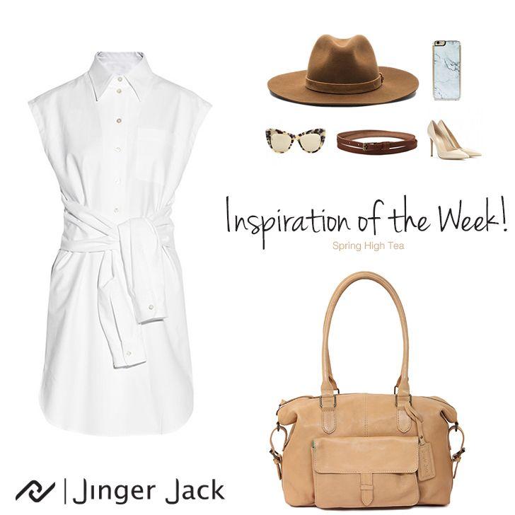 Inspiration of the Week with Jinger Jack's Tote in Camel! #NiceThingsOnEarth #UniversalEleganceDESIGNEDinCapeTown #OOTD #JingerJack #Inspiration #Spring #Hightea #Leatherhandbag #Camel #Tote