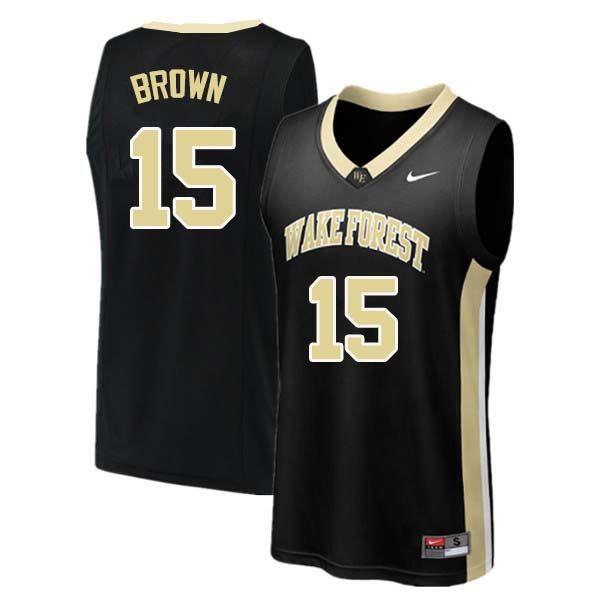3f1ee352944 Men  15 Skip Brown Wake Forest Demon Deacons College Basketball Jerseys Sale -Black