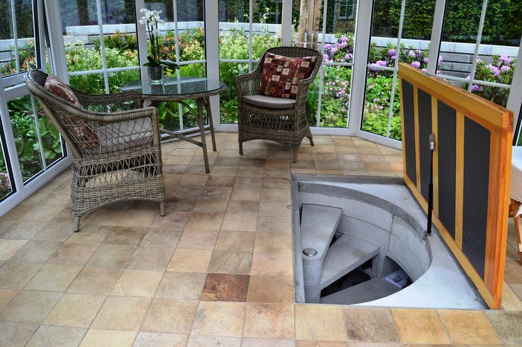 Original Spiral Cellar with wood trapdoor - Installed in orangery