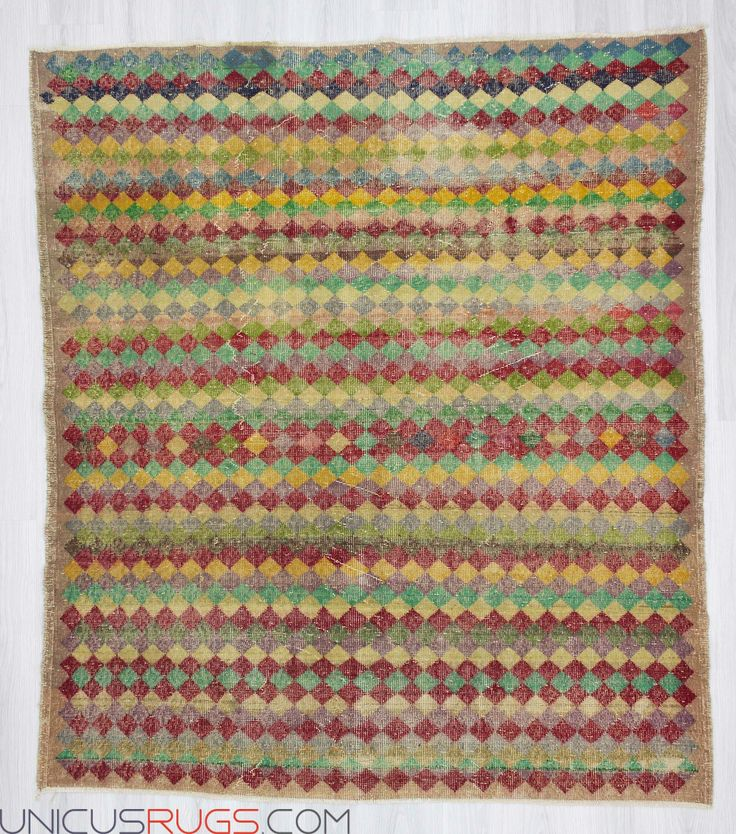 "Vintage hand-knotted decorative colourful Turkish art deco rug from Isparta region of Turkey. In good condition. Approximately 50-60 years old. Wool on cotton. Width: 6' 1"" - Length: 7' 0"" Vintage Art Deco Rugs"