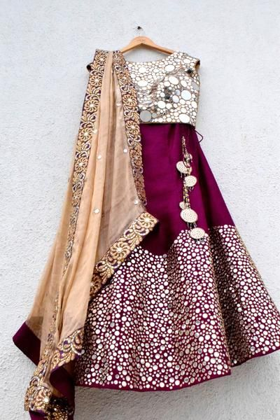 Style:Mirror Embroidered Lehenga Fabric:Raw silk Size:Medium Size customization available! Please email on vintagedesi@gmail.com or call +91 9619761421 with