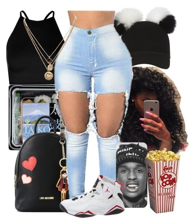 """Untitled #77"" by trillbae5437 ❤ liked on Polyvore featuring Charlotte Simone, Love Moschino, Boohoo, LowLuv and NIKE"