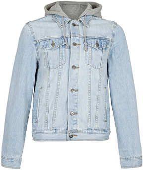$100, Blue Denim Jacket: Topman Light Wash Hooded Denim Jacket. Sold by Topman. Click for more info: https://lookastic.com/men/shop_items/1228/redirect