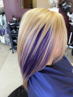 Purple Peekaboo Highlights | Blonde base, highlights and purple peekaboo...