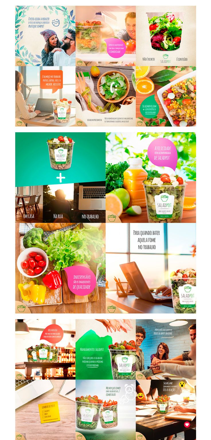 Visual identity and social media campaign's developed to Facebook Ads of a salad retailer named SaladPot.