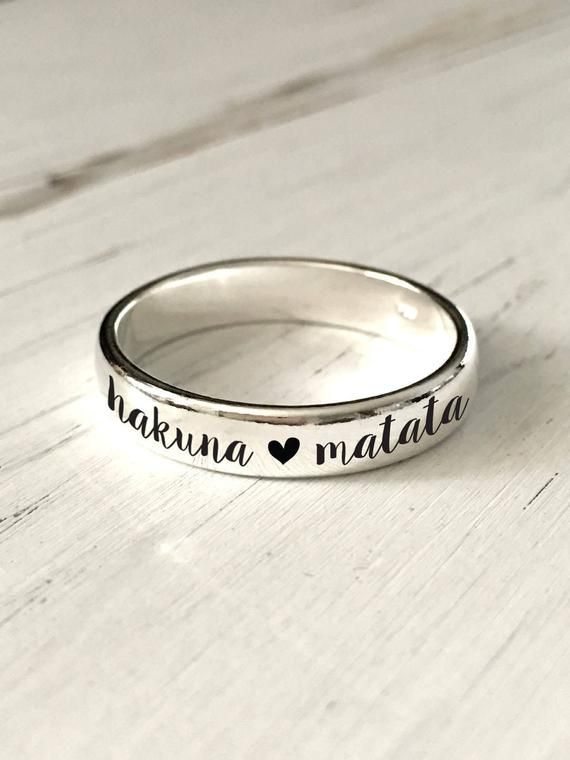c0f36713f2 4mm Hakuna Matata sterling silver ring/ Custom Personalized Engraved ring,  sterling silver/engraving inside sold separately