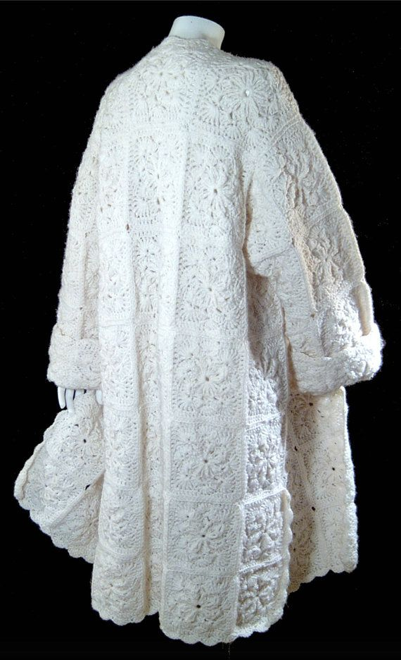 Vintage snow white wool coat  crochet granny square by ForeverSexy