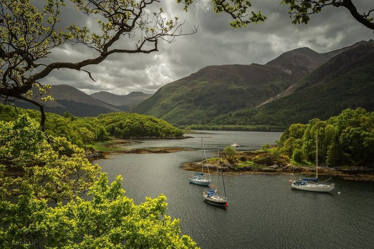 Boating in Loch Leven, Highlands of Scotland