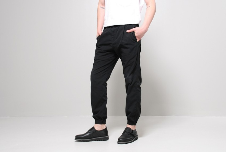 beach pant washed black - Beach pant washed black by Oak. Faded cotton pants with elastic waist and bottom hem. Side pockets and single back pocket. Unisex.  Model wears size M - 14.5W, 11Rise, 30Inseam  100% cotton