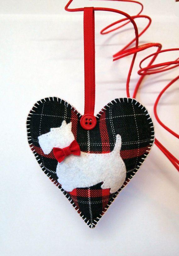 Scottie Heart . Tartan red-white-black. by CozyRiverCottage