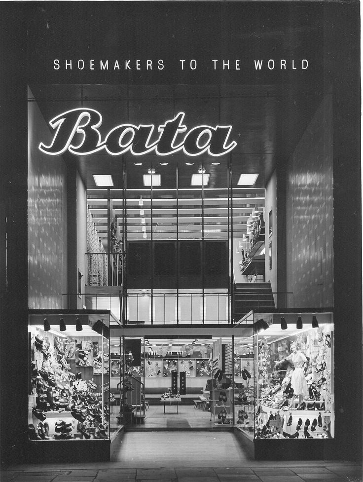 Bata Shoe Store Ilford Essex reopened November 1955 by MD John Tusa, being the largest in the South of England, photo courtesy Tusa Family Archive