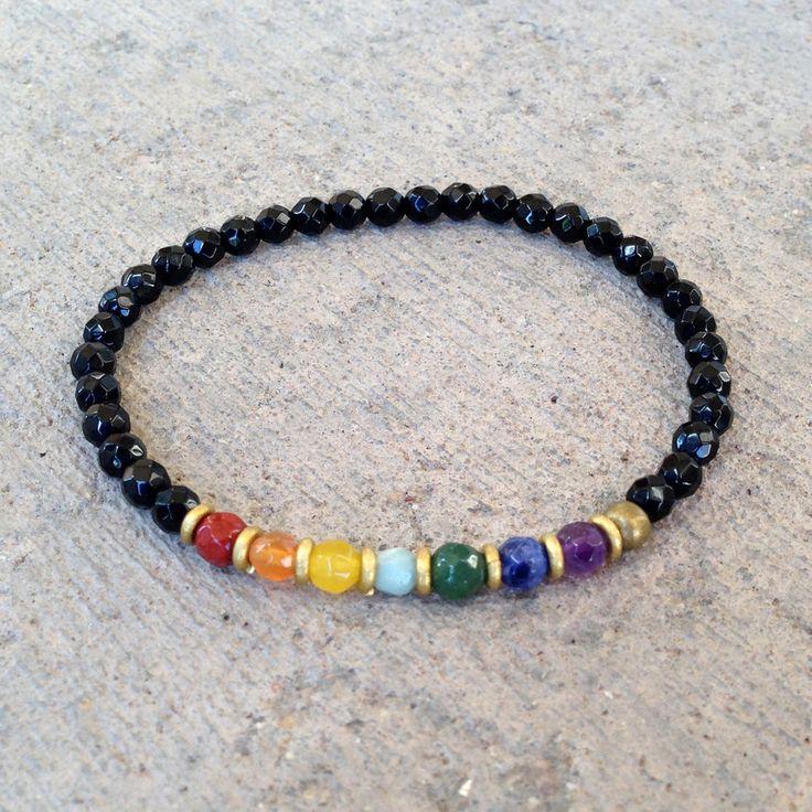 Chakra, fine faceted chakra gemstones and onyx bracelet – Lovepray jewelry #chakra #jewelry #lovepray