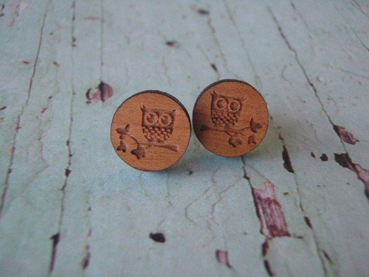 Cute Wooden owl earrings by NixieNooDesigns on Etsy