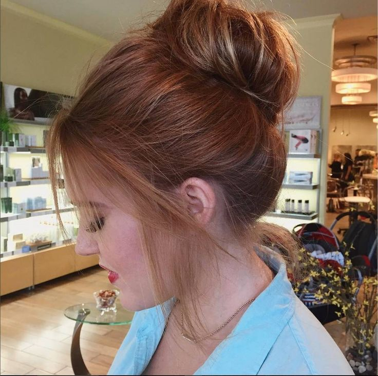"""This big """"messy"""" bun is just luscious. Ginger hair, for the win! ✨🔥👏 Hair by @htx_hairdoctor  #vanitysalonhouston"""