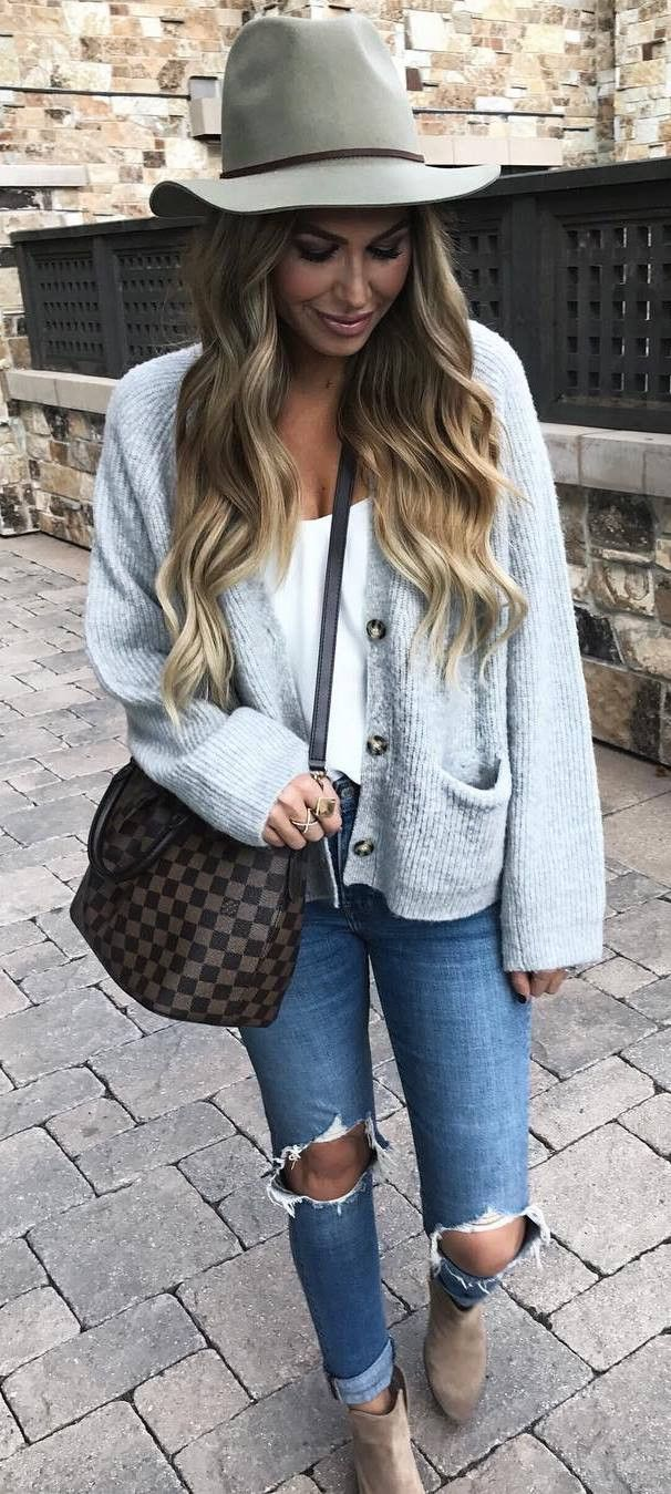 Looks That Will Break Your Winter Fashion Rut. what to wear with a hat    knit cardigan + tee + bag + ripped jeans 8a04e974c6