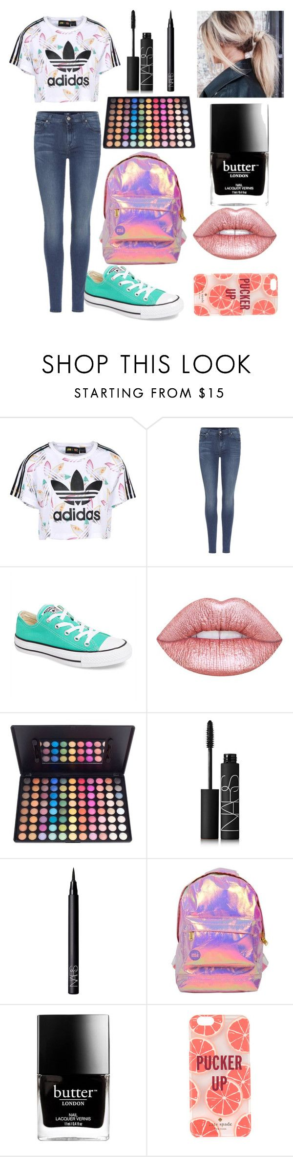 """""""Untitled #21"""" by theimperfect-perfection ❤ liked on Polyvore featuring adidas Originals, 7 For All Mankind, Converse, Lime Crime, NARS Cosmetics, Miss Selfridge, Butter London, Kate Spade and school"""