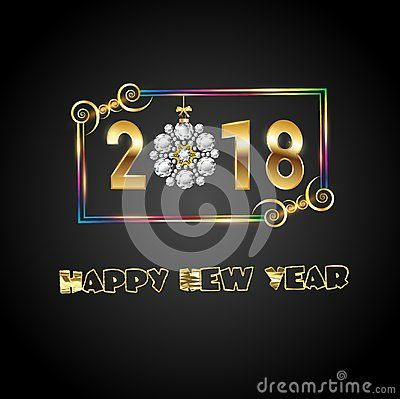 Colorful decorative frame with twirls. 2018 gold text with sparkle and lights. Christmas snowflake diamond replace the number zero. Happy New Year gold font writing on black background. Diamond globe is tide up with gold ribbon and golden bow.
