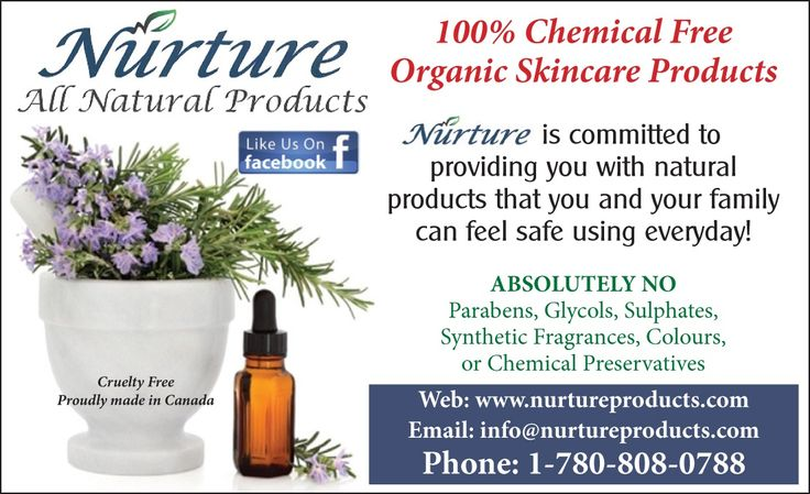 We use unrefined natural organic ingredients with organic essential oils, plant botanicals and extracts, No chemicals or fillers are ever added to any of our products GMO free, NO parabens, glycols, sulphates, preservatives, synthetic fragrances or colors Vegan & Gluten free. Products that are safe for your whole family!  Visit our web site  www.nurtureproducts.com For products & pricing. We ship all across Canada