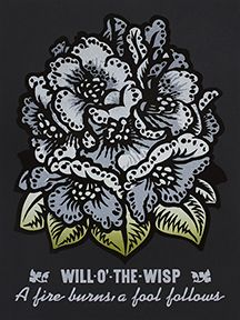 Martin Mazorra Will O the Wisp Woodcut and Letterpress Flower Print
