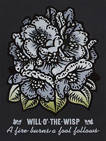 Martin Mazorra Will O the Wisp Woodcut and Letterpress Flower Print