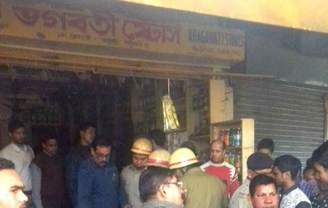 Fire engulfs a grocery store at Alupatty in Siliguri today morning at 10.30am - Fire controlled   A grocery store named Bhagwati Stores at Alupatty in Siliguri was partially burnt down due to a fire today morning at 10.30am.  As the fire was noticed immed