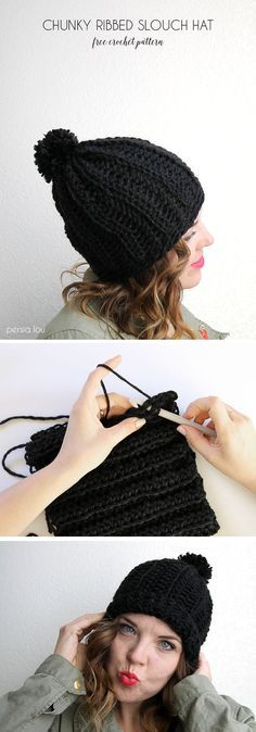 chunky ribbed slouch hat - free crochet pattern - www.persialou.com
