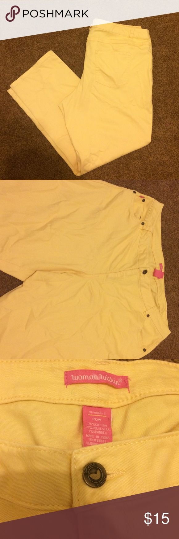 Yellow mustard jeans In excellent condition except small green marks on the pocket as you can see woman within Jeans