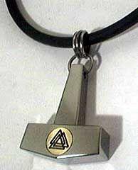 Modern Viking jewelry - inlaid bronze valknut thor hammer