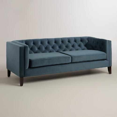 $699- Cost plus One of my favorite discoveries at WorldMarket.com: Midnight Blue Velvet Kendall Sofa