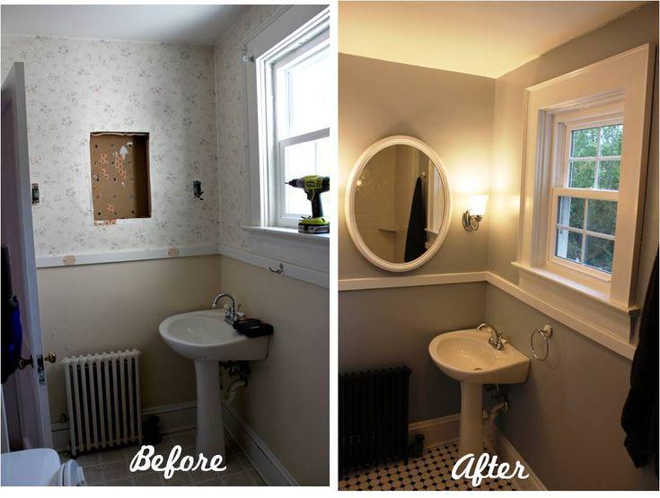 bathroom reveal turning a ugly half bath into a charming full bath