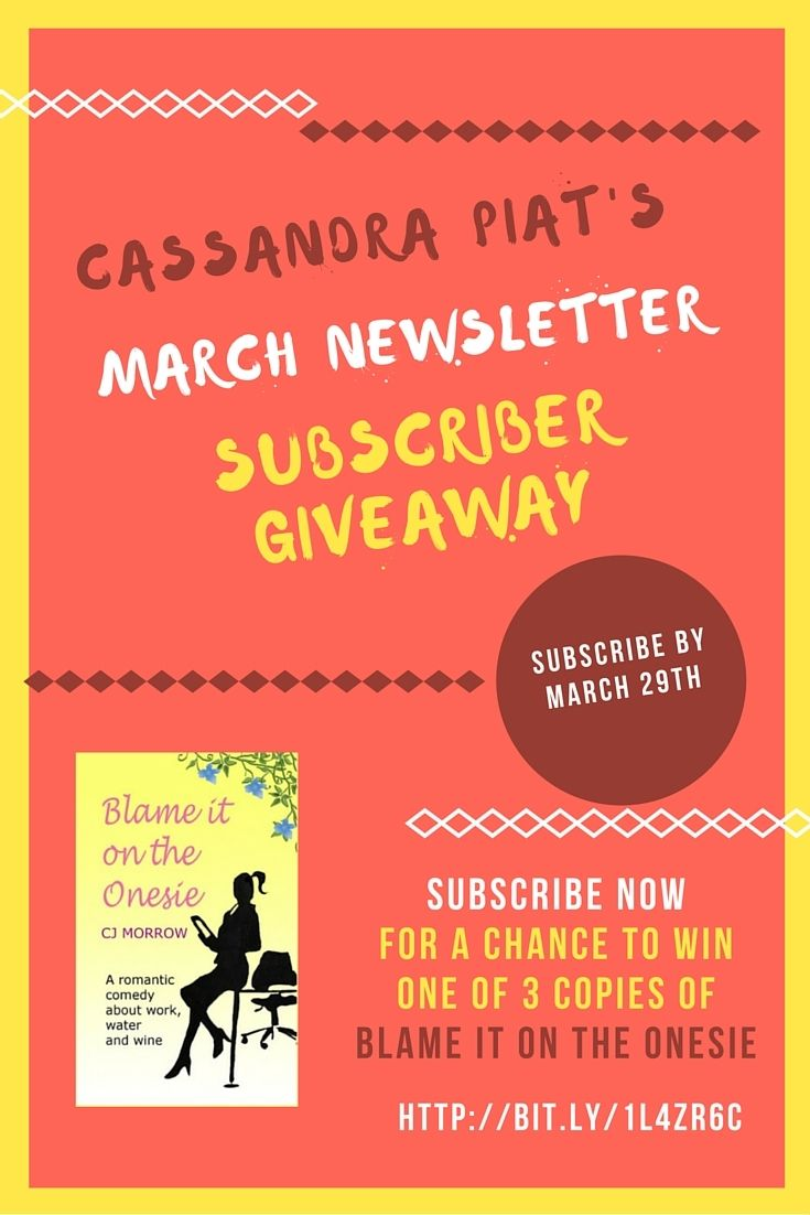 """Be on my subscriber list by March 29th for a chance to #win 1 of 3 copies of fun Romantic Comedy 'Blame it on the Onesie"""" #giveaway Subscribe here http://bit.ly/1l4Zr6C"""