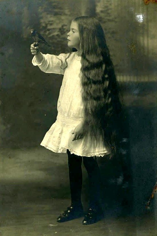 Loving this sweet Edwardian girl with long locks and black bird. c. 1900 #Edwardian