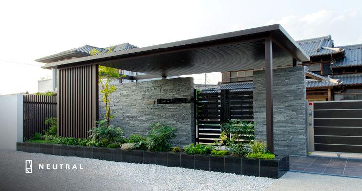 モダン住宅と和風住宅繋ぐ、美しい門構えの施工例 愛知県のニュートラル名古屋