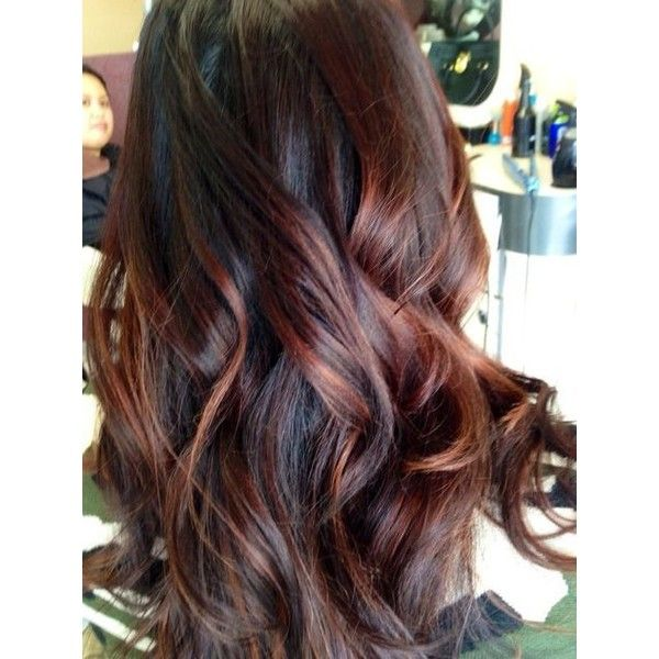 Cherry Bombré Is The Fall Hair Color Every Brunette Will Want to Try ❤ liked on Polyvore featuring hair