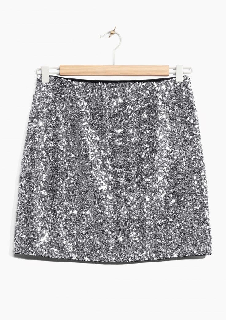SHOP & Other Stories image 1 of Silver Sequin Skirt  in Silver
