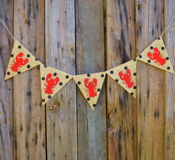 Crawfish polka dot burlap banner by LylaDee on Etsy, $12.00