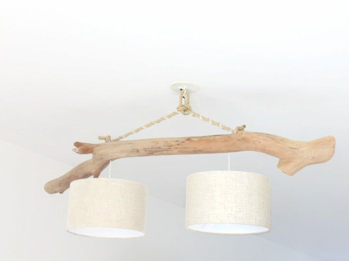 Lustre/plafonnier en bois flotté - lin 30cm - création unique - double suspension - Led slow deco