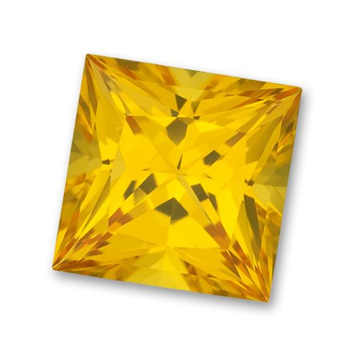 9x9mm Princess Cut Gem Quality Chatham-Created Cultured Yellow Sapphire Weighs 5.00-5.61 Ct.
