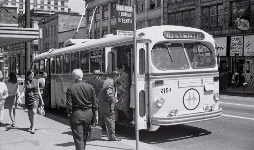 1949 Canadian Car Brill trolley bus is shown in downtown Vancouver, B.C., in July of 1969.