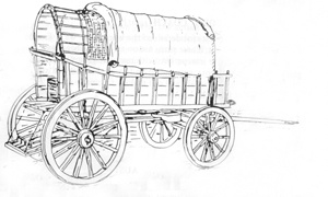 Plans for Boer Trek Waggon. 22$ This South African vehicle is an interesting contrast to the Prairie Schooner. Although used at the same time for migration it has more of an old European design. The sides and front dismantle from the body. 3 standard sheets.
