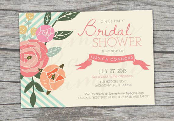 NEW  Floral Chevron Bridal Shower Invitation  by SummerRaine, $17.00