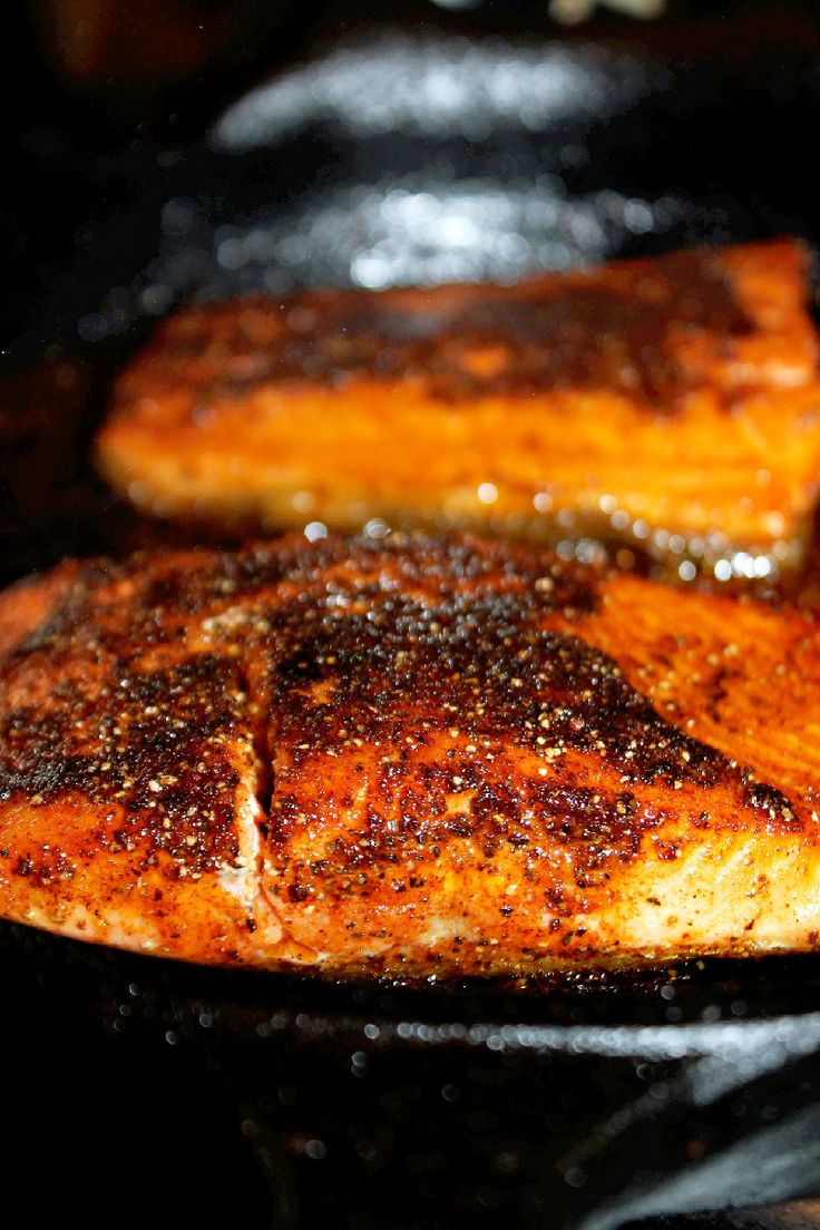 Blackened salmon with yellow rice broccoli with for Blackened fish recipes