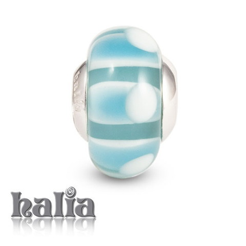 Winter Sky: Cloudy blues and whites: murano glass bead on a sterling silver barrel: designed exclusively by Halia, this bead fits other popular bead-style charm bracelets as well. Sterling silver, hypo-allergenic and nickel free.     $36.00