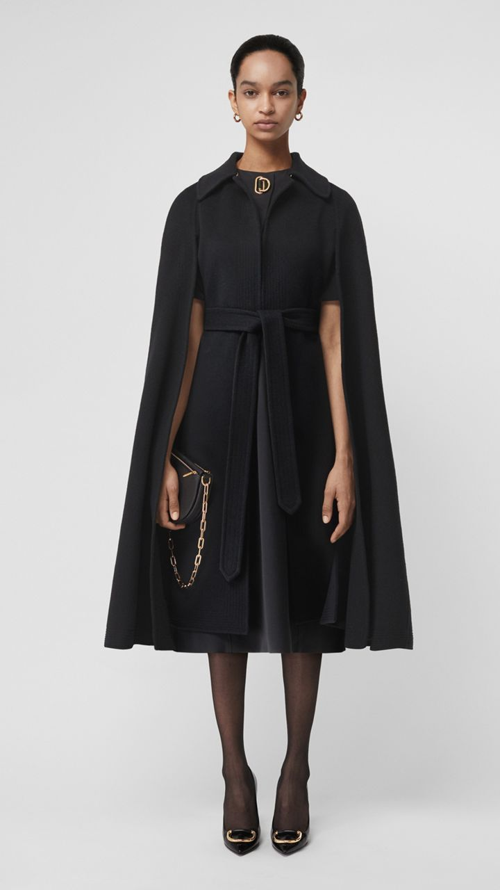 Double faced Cashmere Belted Cape in Black Women in 2019