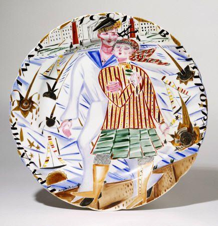 Titulo de la imágen Artist Christies Artist - A Soviet Porcelain Propaganda Plate, ''The Sailor''s Stroll In Petrograd, 1 May 1921''