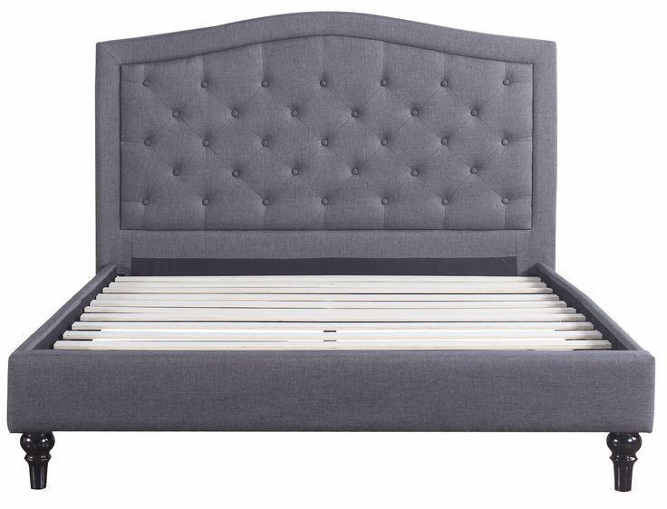 Classic Dark Grey Box-Tufted Fabric Bed Frame