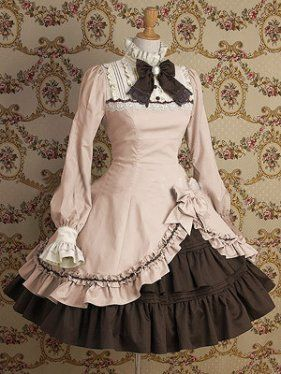 Light-pink And Brown Mixed Colored Classic Lolita Dress , ocrun.com