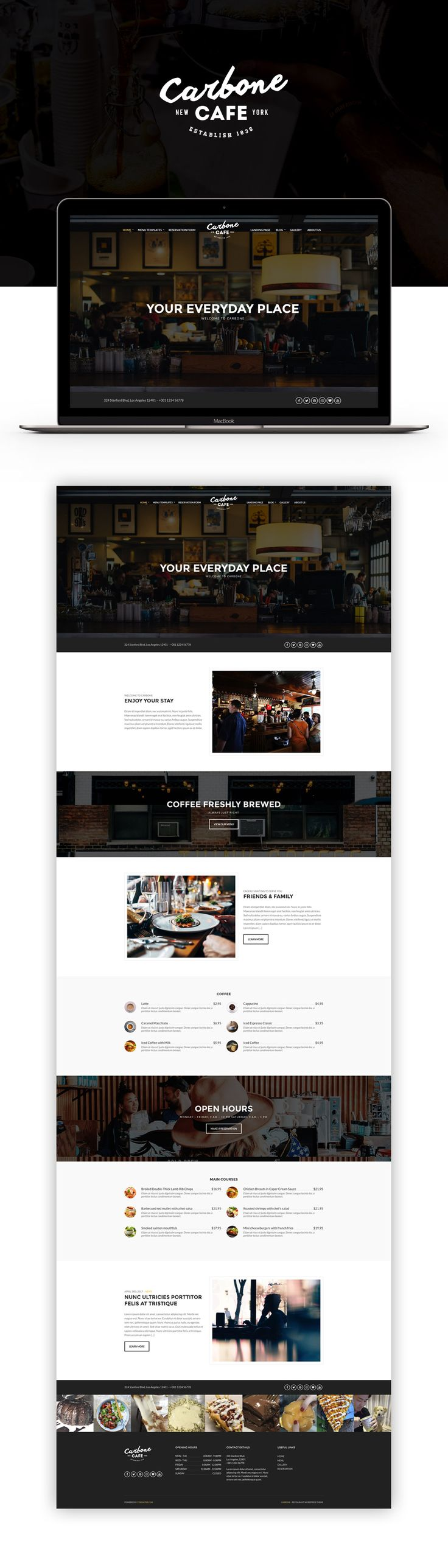 Looking for a flexible theme for your Cafe / Bar / Restaurant business? Look no further. Reflect your business's mission through an elegant and modern website built with Carbone.